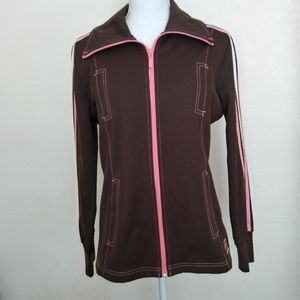 Adidas Zip Up Jacket Pink and Brown Safety
